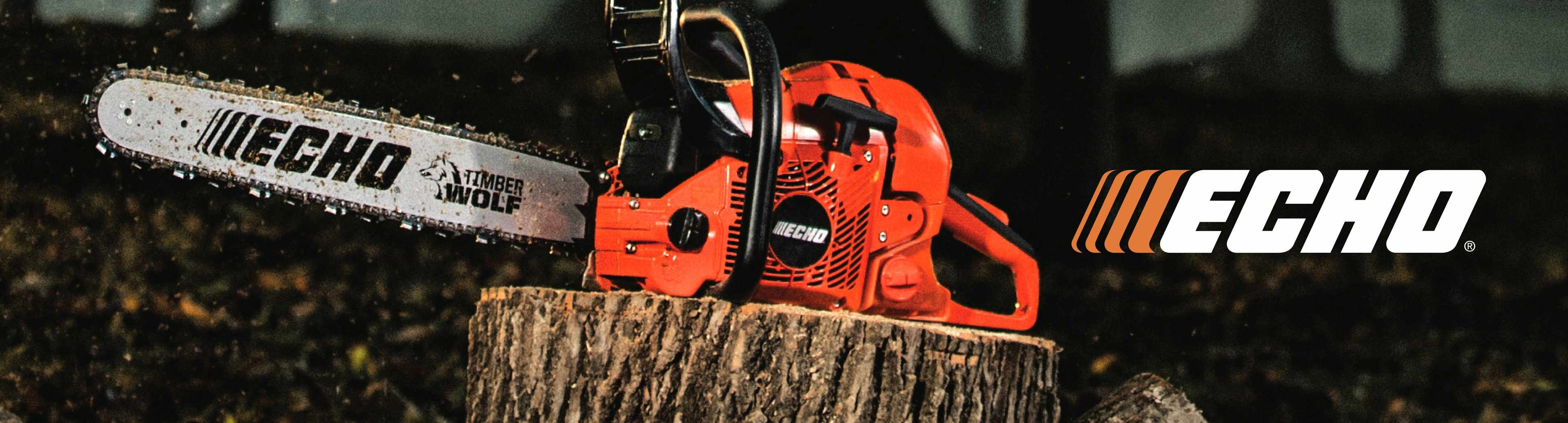 Echo logo with Echo chainsaw