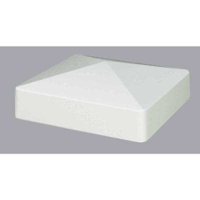 Outdoor Essentials 5 In. x 5 In. White Pyramid Vinyl Post Cap
