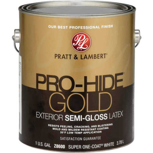 Pratt & Lambert Pro-Hide Gold Latex Semi-Gloss Exterior House Paint, Super One-Coat White, 1 Gal.