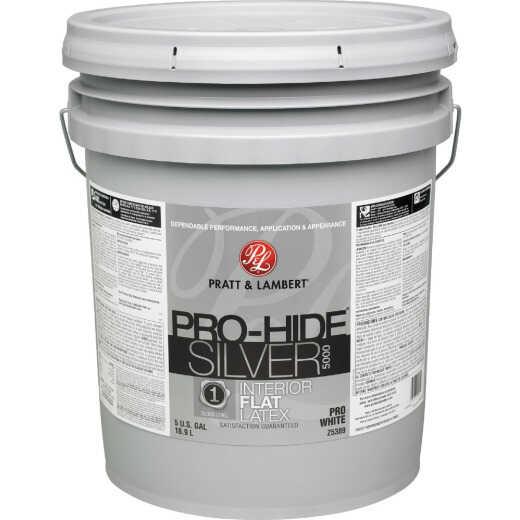 Pratt & Lambert Pro-Hide Silver 5000 Latex Flat Interior Wall Paint, Pro White, 5 Gal.