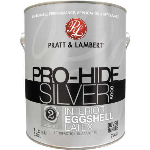 Pratt & Lambert Pro-Hide Silver 5000 Latex Eggshell Interior Wall Paint, Dover White, 1 Gal.