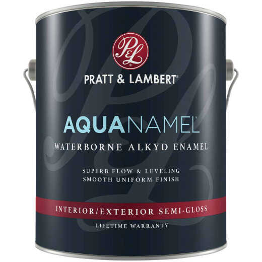Pratt & Lambert Aquanamel Waterborne Alkyd Semi-Gloss Interior/Exterior Enamel, Bright White Base, 1 Gal.