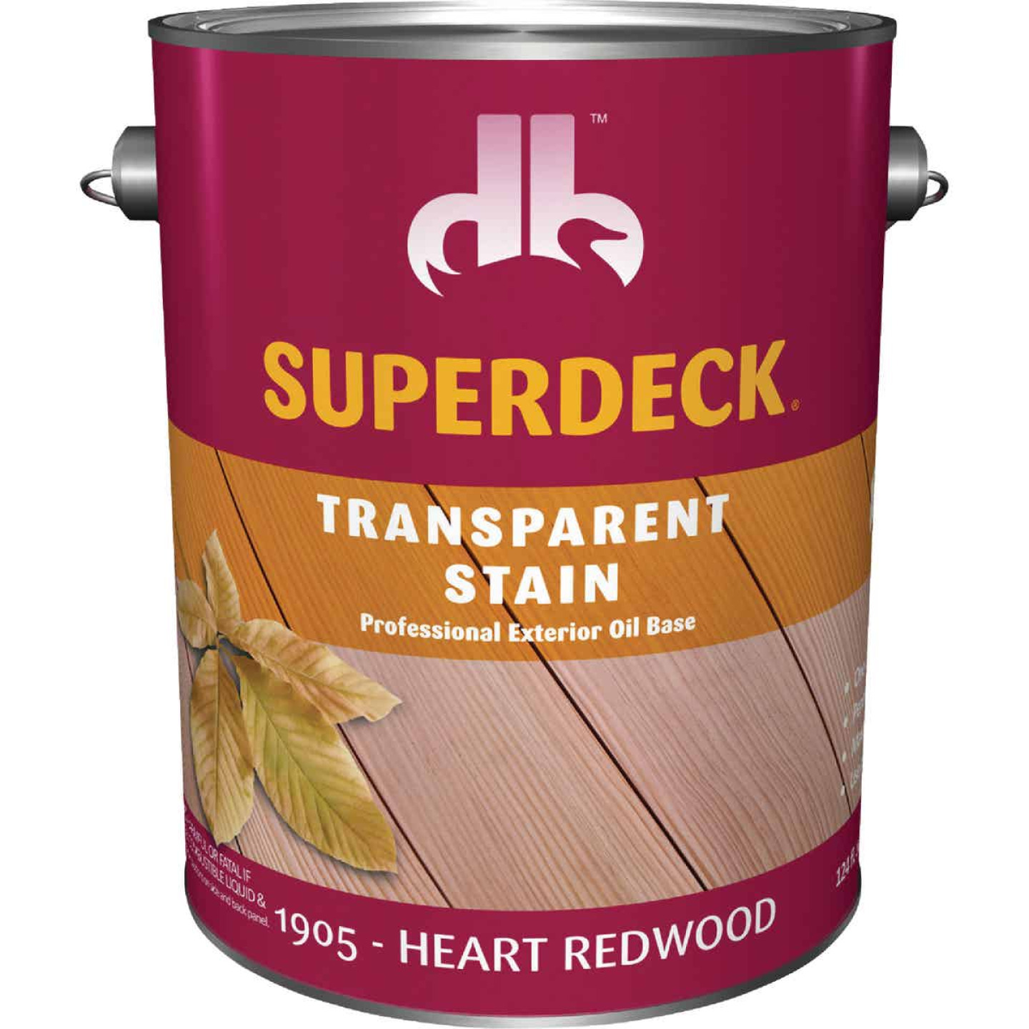 Duckback SUPERDECK Transparent Exterior Stain, Heart Redwood, 1 Gal. Image 1